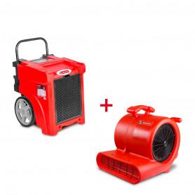Pack Déshumidificateur mobile industriel 50 l/jour PE + Ventilateur sécheur 250 w