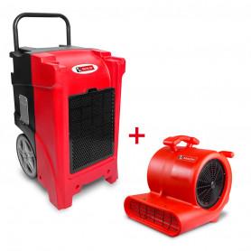Pack Déshumidificateur mobile industriel 90 l/jour PE + Ventilateur sécheur 250 w