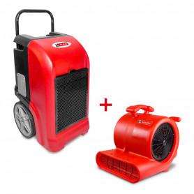 Pack Déshumidificateur mobile industriel 70 l/jour PE + Ventilateur sécheur 250 w