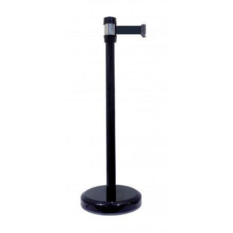 Poteaux chromé à sangle noirL. 2000 mm