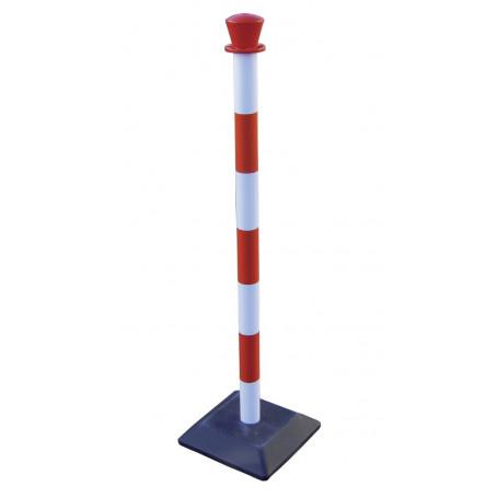Poteau plastique d.50mm - rouge/blanc + base