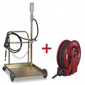 Pack pompe à huile pneumatique 5:1 avec enrouleur de 10m
