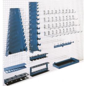 Set de crochets et suspensions pour panneaux muraux perforés