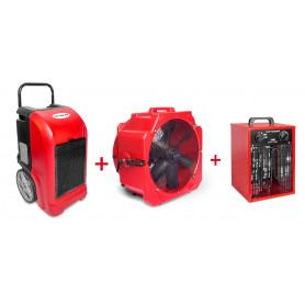Pack Déshumidificateur mobile industriel 70 l/jour PE + Ventilateur mobile 2 vitesses 500 mm + Générateur d'air chaud électrique