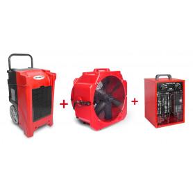 Pack Déshumidificateur mobile industriel 90 l/jour PE + Ventilateur mobile 2 vitesses 500 mm + Générateur d'air chaud électrique