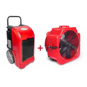 Pack Déshumidificateur mobile industriel 70 l/jour PE + Ventilateur mobile 2 vitesses 500 mm