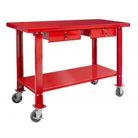 Établi 150 cm avec roues et 2 tiroirs