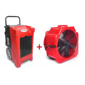 Pack Déshumidificateur mobile industriel 90 l/jour PE + Ventilateur mobile 2 vitesses 500 mm
