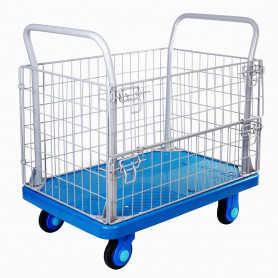 Chariot plateforme 300 kg avec cage, silencieux et très maniable