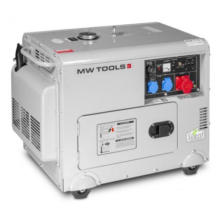 Groupe électrogène insonorisé diesel 6,5kW 1x230V + 3x400V MW-Tools DG65E