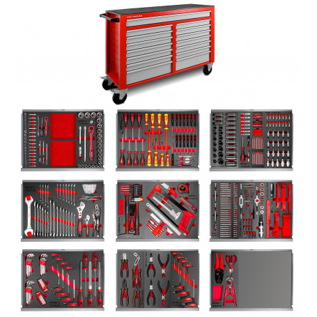 Servante atelier complète 512 outils XXL 15 tiroirs MW-Tools MWE512G4