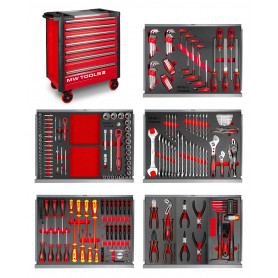 Servante robuste 7 tiroirs complète 211 outils GWA107 rouge MW-Tools MWE211A