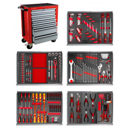 Servante atelier complète 211 outils MW-Tools MWE211G