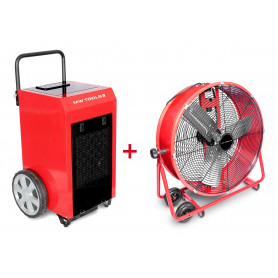 Pack Déshumidificateur mobile industriel 90 l/jour + Ventilateur brasseur mobile 600 mm 190 W MW-Tools BD90PSETA