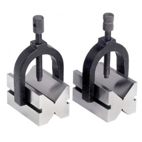 Paire de blocs en V ø 42 mm - étriers de serrage réglables Vertex VBL4201
