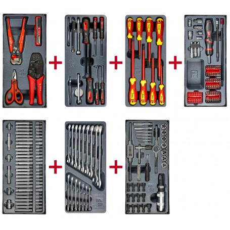 Lot d'outils d'électriciens, clés mixtes, tournevis isolés, set d'inspection, embouts et tarauds. MW-Tools MWPSOU