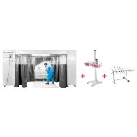 Cabine de peinture mobile avec sécheur de peinture infrarouge 2x1000W + support rotatif MW-Tools MSC3600PACK2