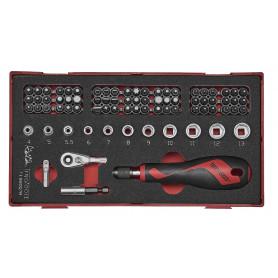 """Set douilles et embouts 1/4"""" 78pcs EVA-tray Teng Tools TEAMDQ78"""