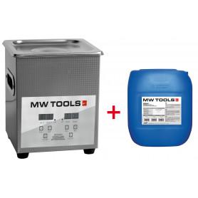 Pack nettoyeur à ultrasons 2L professionnel + 5L de nettoyant Ecoplus MW-Tools UCC002PACK