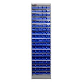 Armoire ouverte avec 95 bacs de rangement MW-Tools DEBK95
