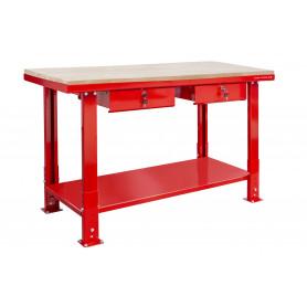 Établi 150 cm avec pieds réglables plateau MDF 2 tiroirs MW-Tools DER1500PW