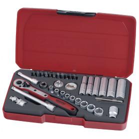 """Boîte de douilles & embouts. 1/4"""" 36 pcs Teng Tools T1436"""