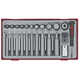Embouts hex 23pcs 40 75mm 5-19mm Teng Tools TTHEX23