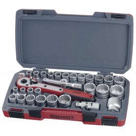 """Jeu de douilles 1/2"""" mm/AF 30 pcs Teng Tools T1230"""