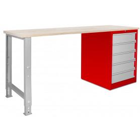 Établi modulaire avec armoire à tiroirs 200 cm MW-Tools MOD201R